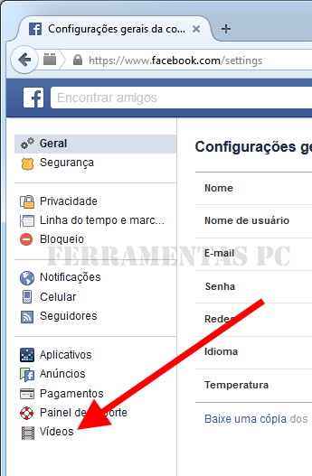 Facebook - Menu Vídeos