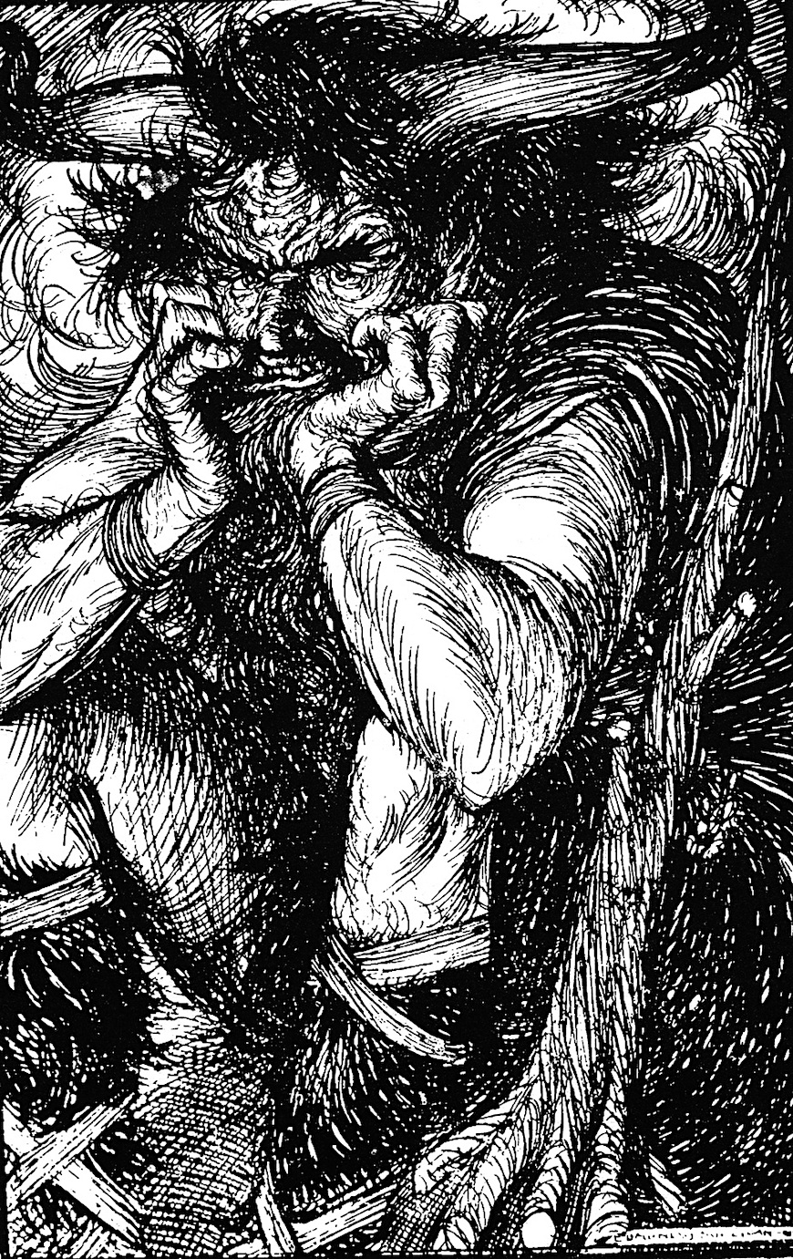 an Edmund J. Sullivan book illustration of a demon