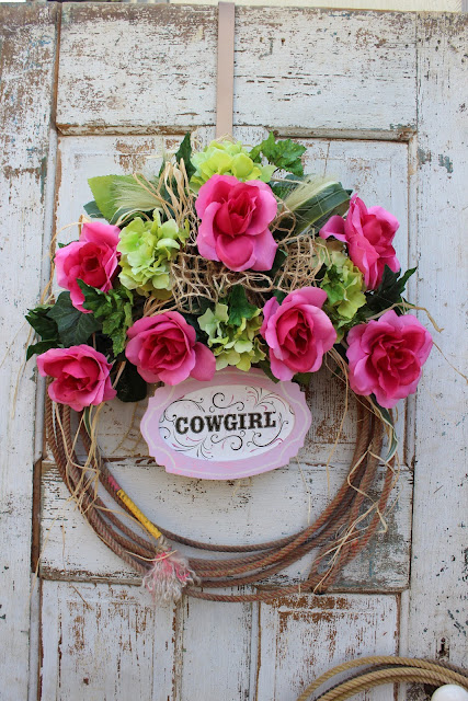 Country Girl Rope Wreath with Pink Roses and Green Hydrangeas