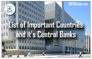 List of important countries and it's central banks