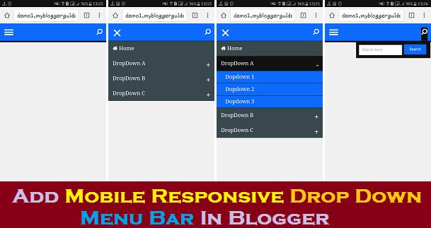 Responsive Menu Bar, Mobile Responsive Blogger Menu, Mobile Responsive Navigation Bar, Search Box Menu for Blogger