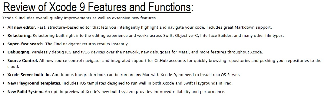 Xcode 9 Features and Changelog