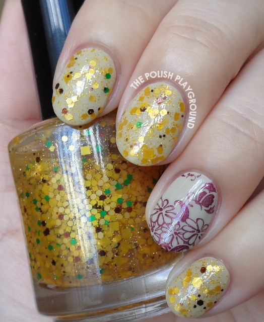 Neutral Base and Yellow Glitter Combination Nail Art