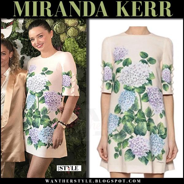 Miranda Kerr in cream hydrangea print mini dress hydrangea dolce gabbana what she wore june 10 2017