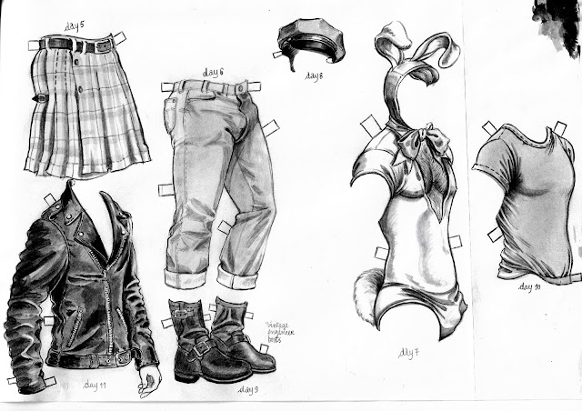 kilt jeans leather jacket cap t-shirt boots bunny easter