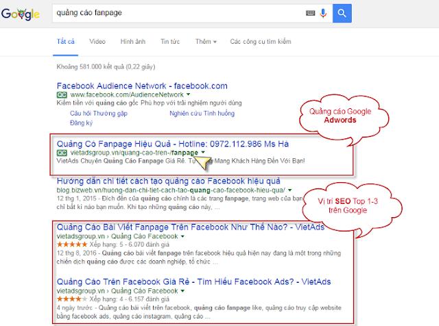 Vị trí hiển thị quảng cáo Google Adwords