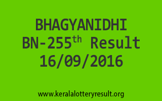 BHAGYANIDHI BN 255 Lottery Results 16-9-2016