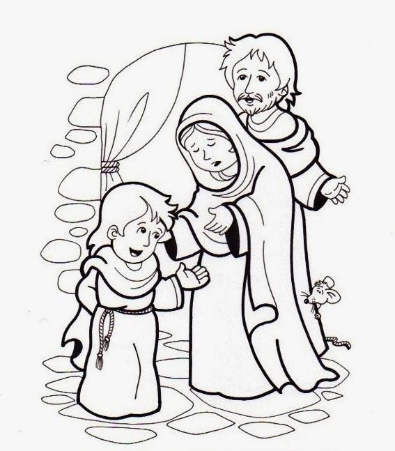 Educar con Jesús: Sagrada familia para colorear