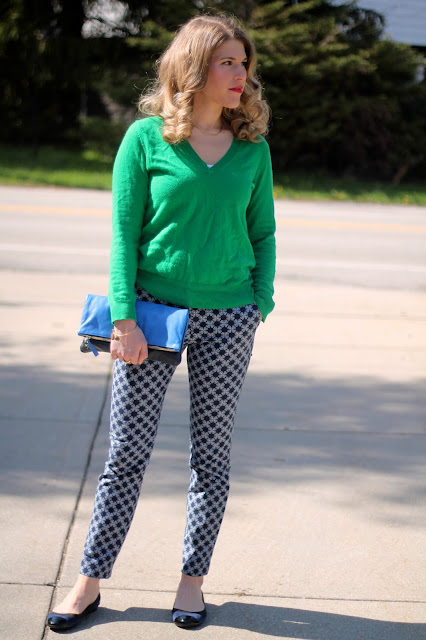 blue printed pants, green sweater, blue flats, blue Clare V. clutch, spring-outfit, spring-work-outfit