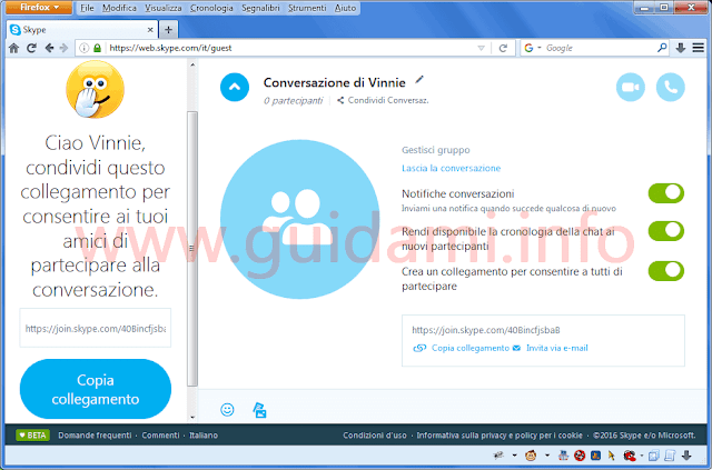 Finestra chat Skype sul browser senza registrazione