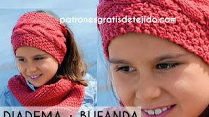 Patrones de Diadema y Bufanda Infinita Tejidas a Dos Agujas con Instrucciones en Español
