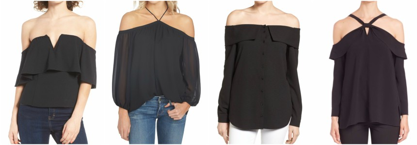 One of these off the shoulder tops is from Proenza Schouler for $890 and the other three are under $80. Can you guess which one is the designer top?