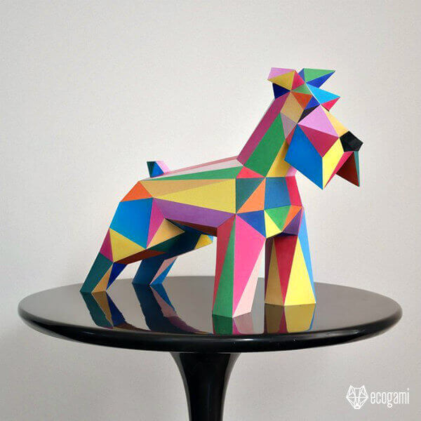 folded paper schnauzer dog model