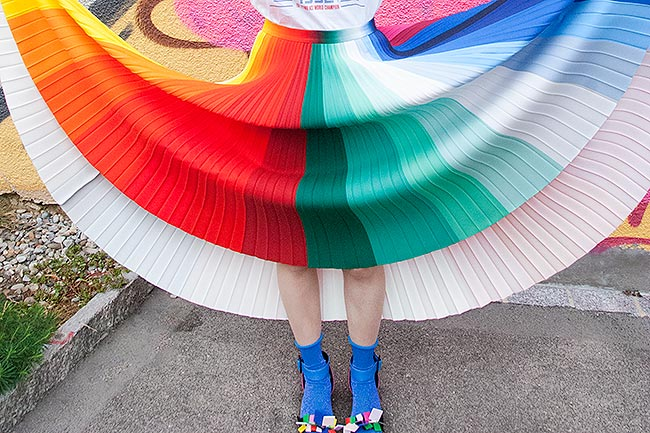 Sara is in Love with… blogger influencer Kitty Joseph rainbow colour wheel pleated skirt Kat Maconie Agatha Ruiz de La Prada Gucci