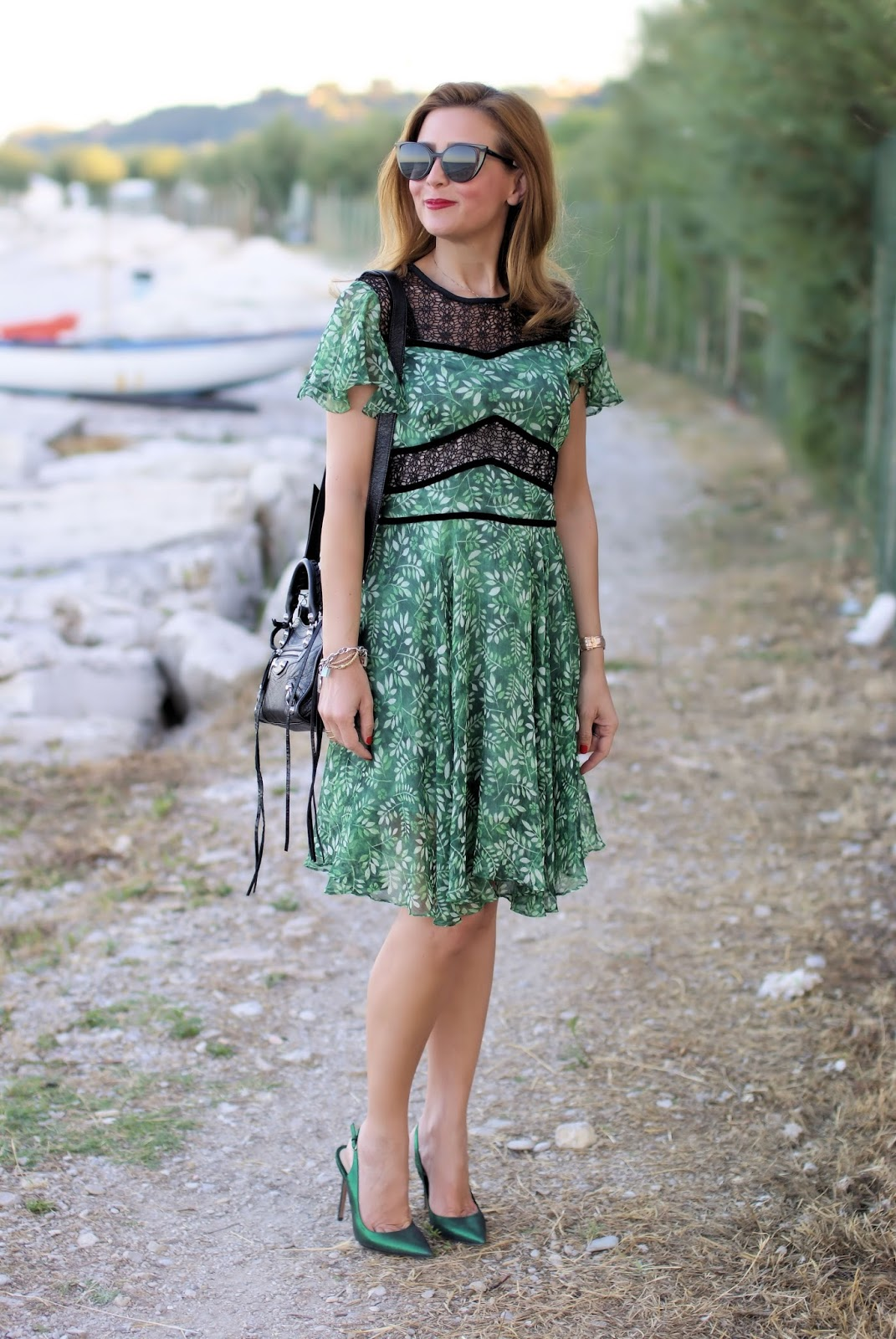 Green floral dress and Balenciaga mini bag on Fashion and Cookies fashion blog, fashion blogger style
