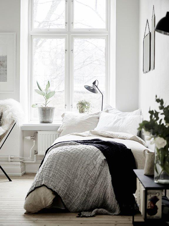 Cozy bed nook via Grey Deco