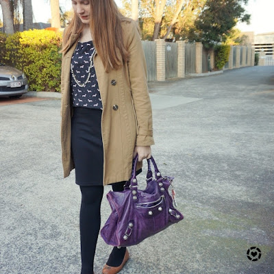 awayfromblue instagram trench coat printed blouse black ponte pencil skirt purple bag
