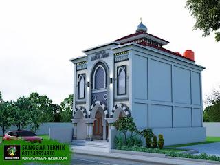 GAMBAR DESAIN MUSHOLLA MINIMALIS MODERN 7X11 ( 2 LANTAI ) MODEL RUKO