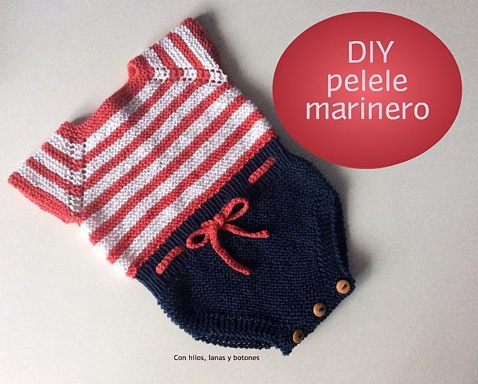 5ad0ceaa4 Con hilos, lanas y botones: Pelele marinero de punto para bebé (patrón  gratis