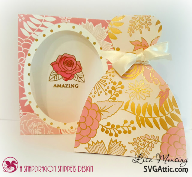 SVG Attic Janies Wedding Dress Favor Box done in blush,cream, and gold.