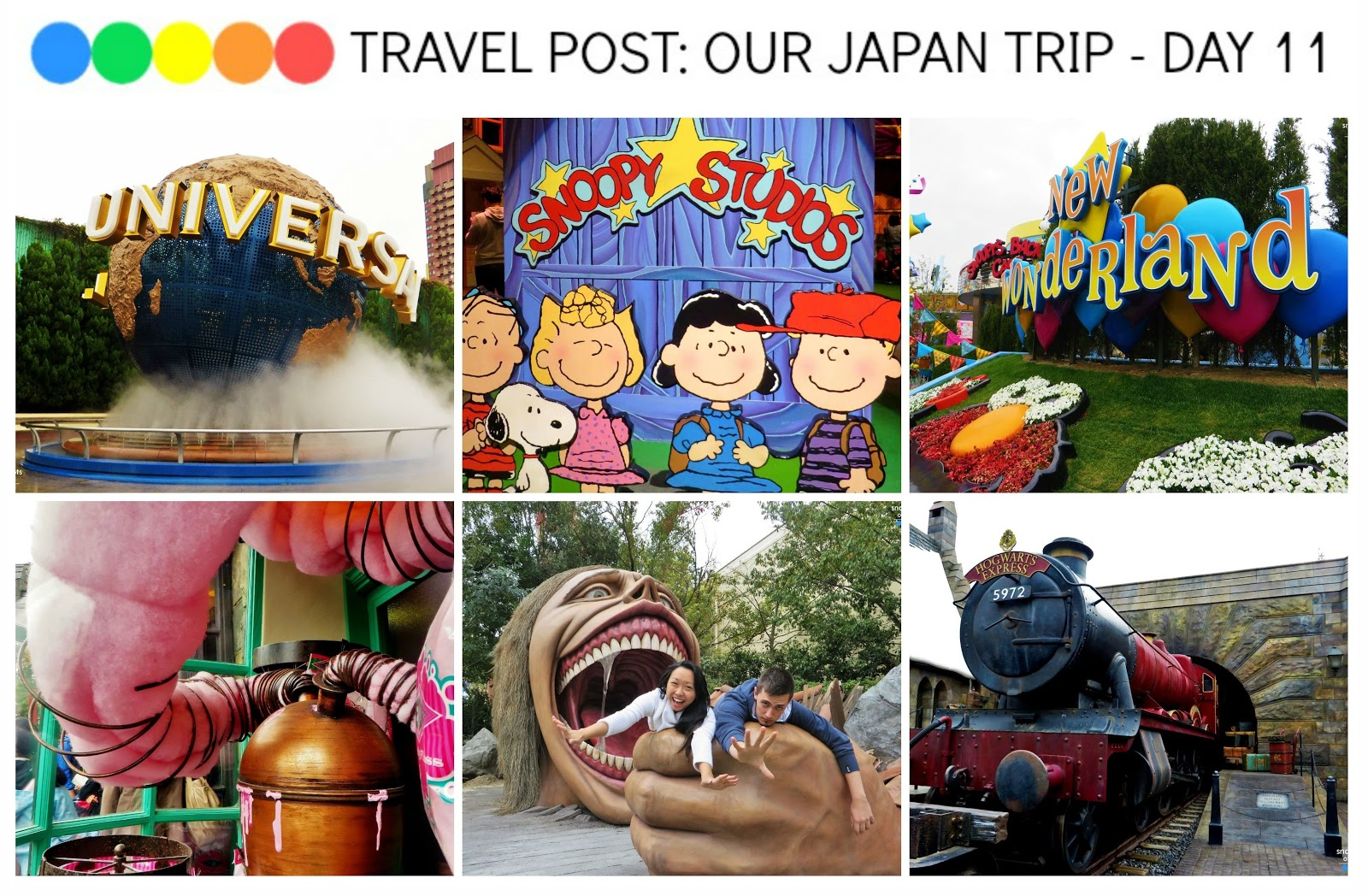 Universal Studios Osaka - Jurrasic Park Ride, Harry Potter attraction, Attack on Titan, Despicable Me, Happiness Cafe, New Wonderland, Hello Kitty, Spiderman and POMME NO KI RESTAURANT