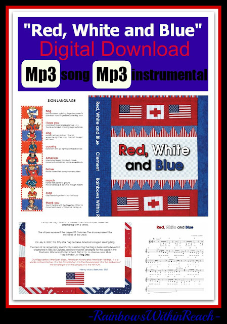 "photo of: Digital Download of ""Red, White and Blue"" Children's Song at ""PreK+K Sharing"""
