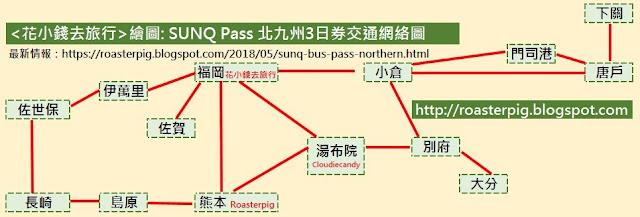 SUNQ Pass 北九州3日券路線圖