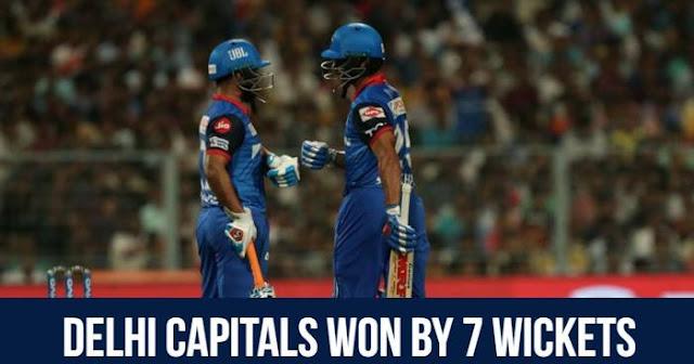 Delhi Capitals Won by 7 wickets