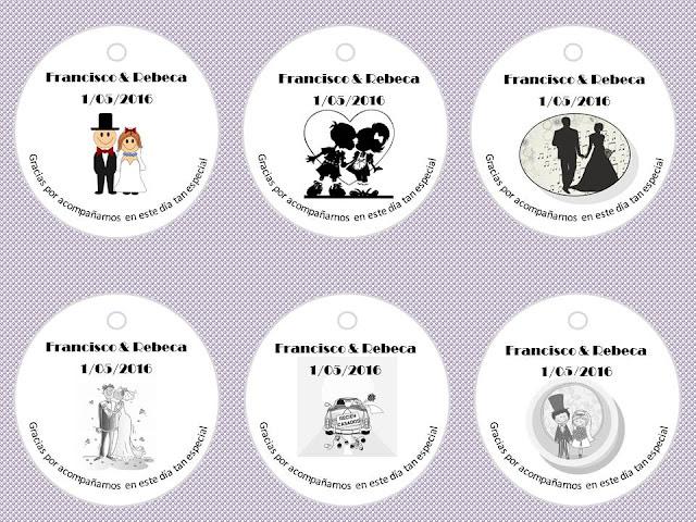 unas bonitas etiquetas para acompañar los detalles para obsequiar a tus invitados de boda