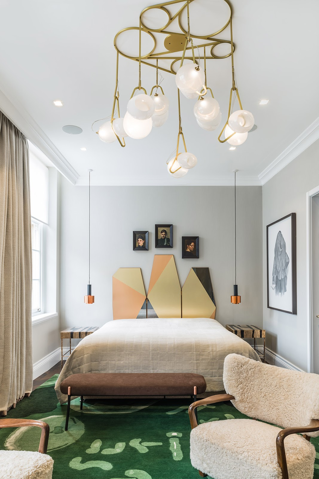 Design bedroom inside of luxurious London apartment, scandninavian and eclectic style