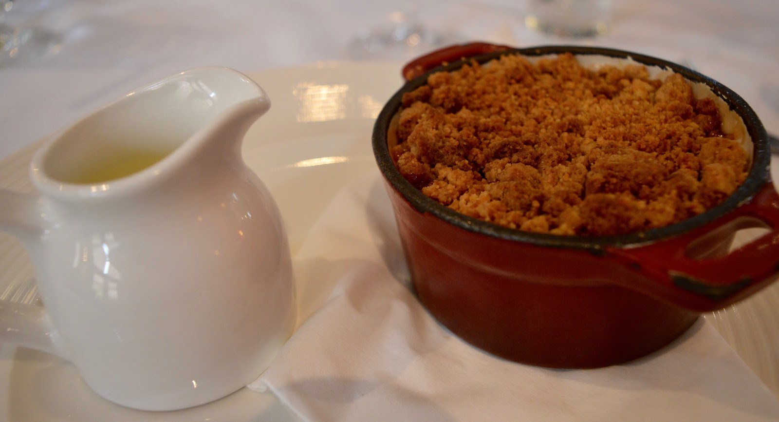 Family Sunday Lunch at The Cherry Tree Restaurant, Jesmond | A Review  - homemade apple crumble and custard dessert
