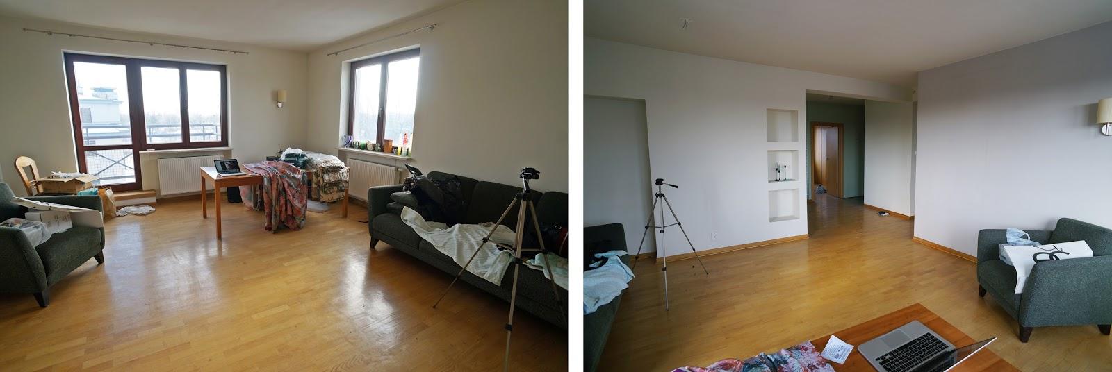 Mieszkanie  przed home stagingiem - podczas zaawansowanego kursu