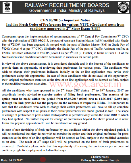 RRB NTPC (CEN 03/2015) Official Notice Regarding Change of Post Preference