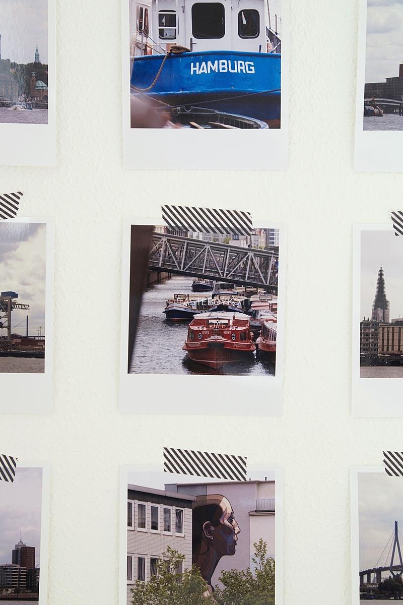DIY easy Scandinavian modern wall decoration with polaroid photos from Hamburg