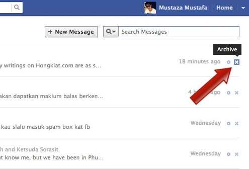 how to select messages to delete on facebook