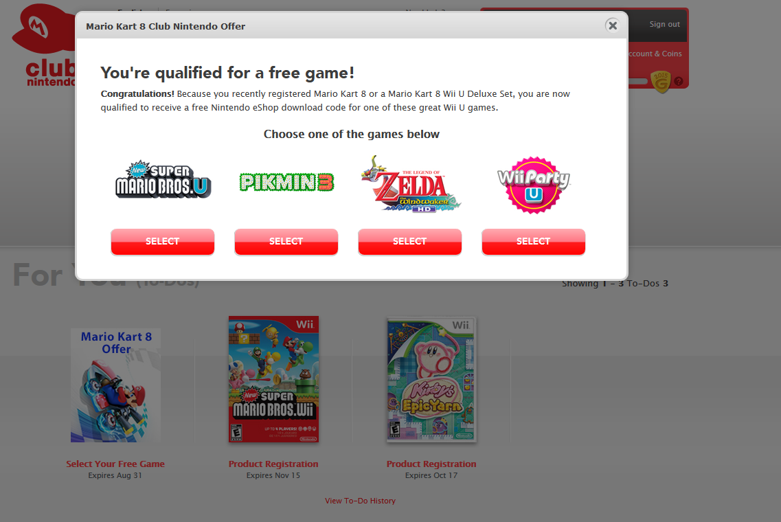 What the Club Nintendo Mario Kart 8 free game offer looks like when selecting which game to pick.