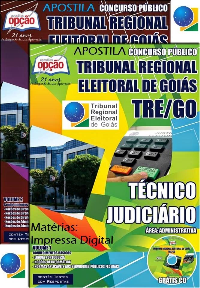 Apostila tecnico judiciario tribunal eleitoral de goias tre go area administrativa.