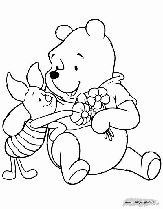 Tranh cho bé tô màu gấu Pooh 10