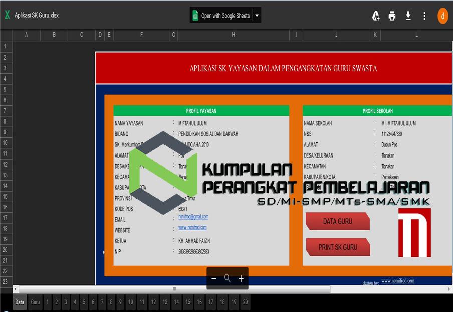 Aplikasi Cetak Sk Sekolah Excel Untuk Berbagai Kegiatan Bagipedia
