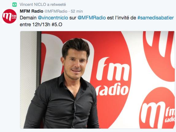 Vincent Niclo MFMradio Samedi Sabatier