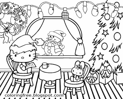 Girls pretty hello kitty Christmas printable cute coloring pictures creative drawing ideas for kids