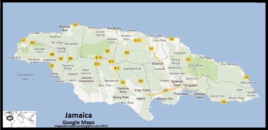 mapa de jamaica, google maps 2012