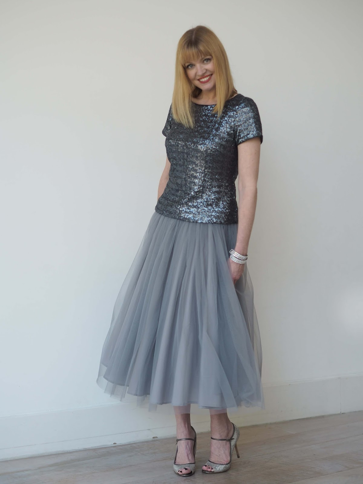 Grey tulle skirt, sequined top, glitter Jimmy Choos, over 40 style