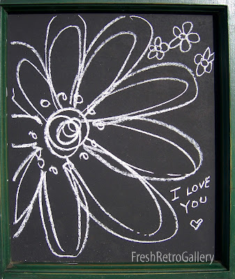 I love you and flower sketch on chalkboard