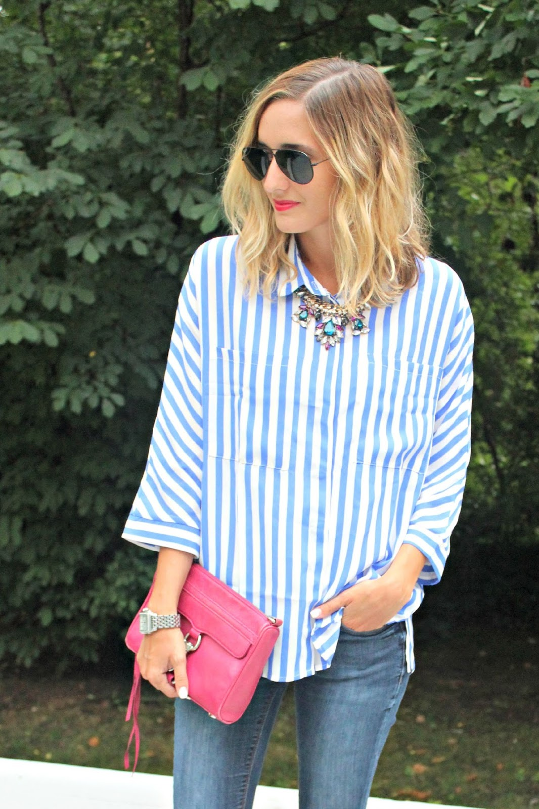shein blue striped top