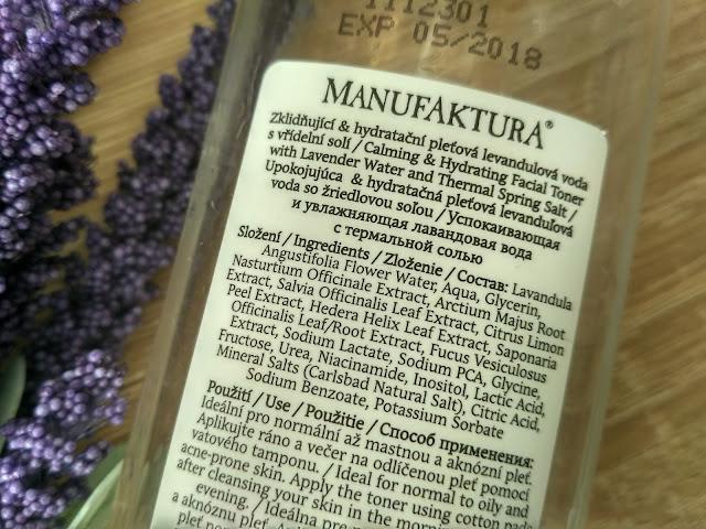 Manufaktura pleťová levanduľová voda zloženie