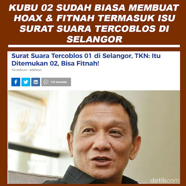Surat Suara Tercoblos 01 di Selangor, TKN: Itu Ditemukan 02, Bisa Fitnah!