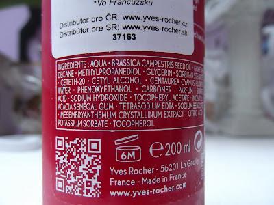 Vyhladzujúce odličovacie mlieko Yves Rocher   zloženie