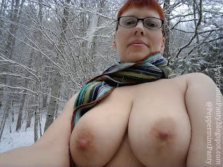 Topless outdoors in the snow