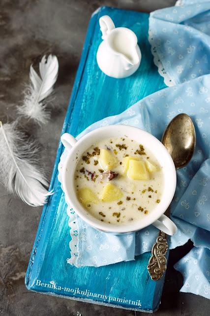 zupa, ziemniaki, bielucha, obiad, boczek, bernika, kulinarny pamietnik